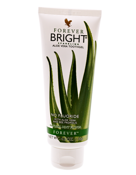 Forever Bright Toothgel is a fluoride-free, Aloe vera based toothpaste that cleans and conditions while also freshening your breath. Especially good for sensitive gums.