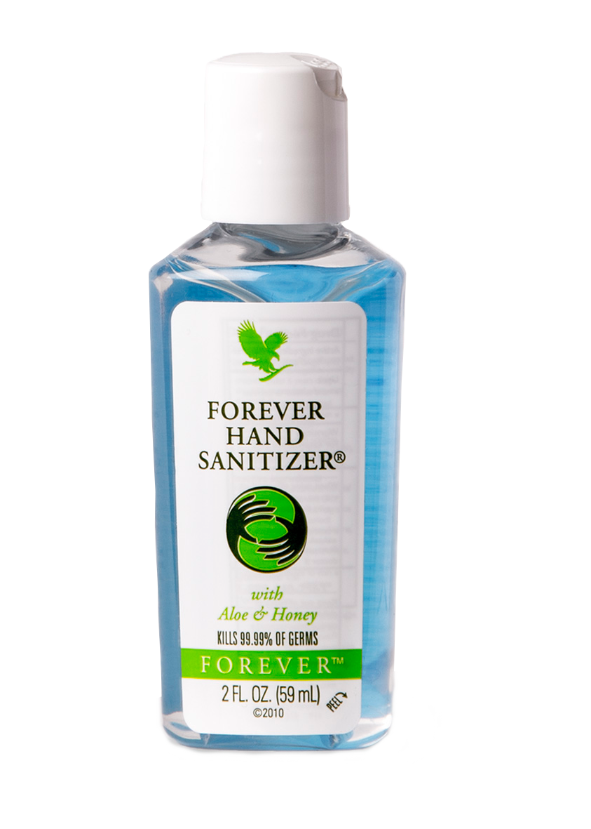 A handy hand sanitizer. Forever Hand Sanitizer effectively disinfects your hands, while Aloe vera conditions and soothes your skin.