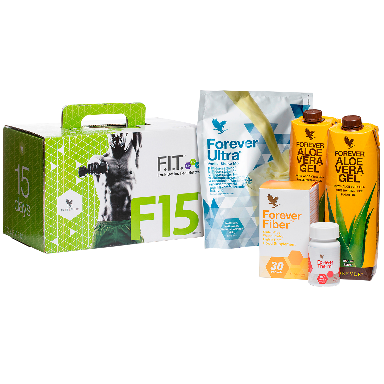 F15 is 3 diet and training programmes that give you a manual and tools to improve your health, as well as Forever Ultra, Therm, Fiber and Aloe Vera Gel.