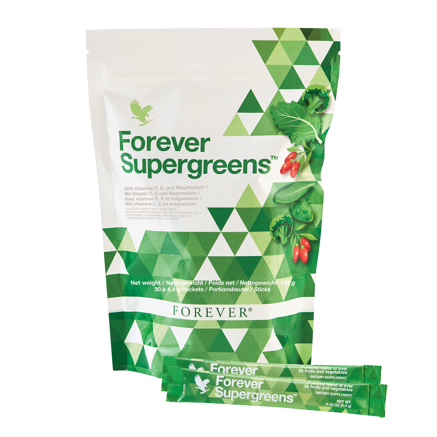 Forever Supergreens gives you more than 20 fruits and vegetables in a handy portion pack.